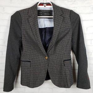 Zara Basic wool blend houndstooth blazer Large